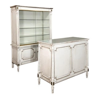 Antique French Louis XVI Painted Store Counter and Display Case Set For Sale