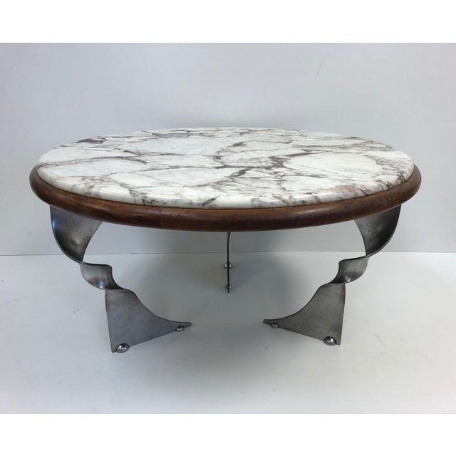 Marble Unique Steel Base and Marble-Top Coffee Table For Sale - Image 7 of 7