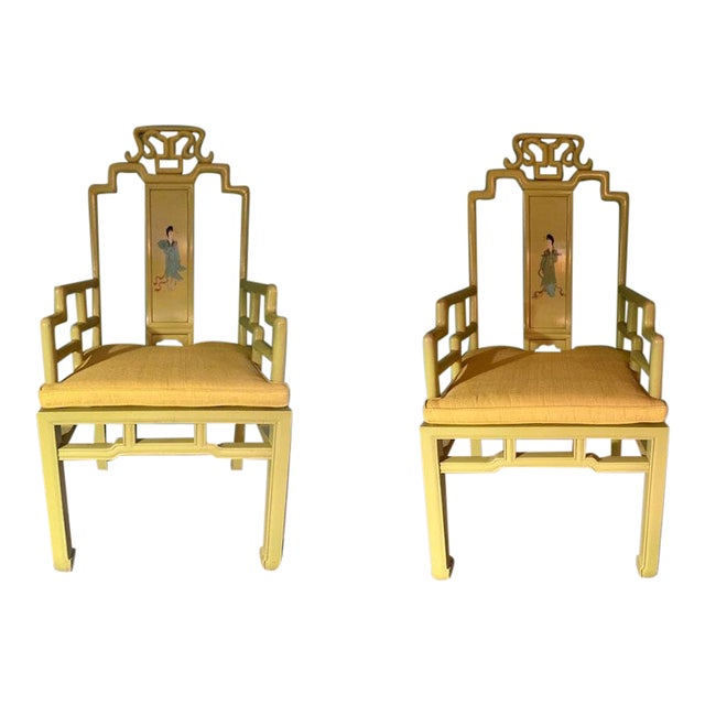 1960s Vintage Yellow Wooden Hand Painted Asian Decorative Chairs- A Pair For Sale