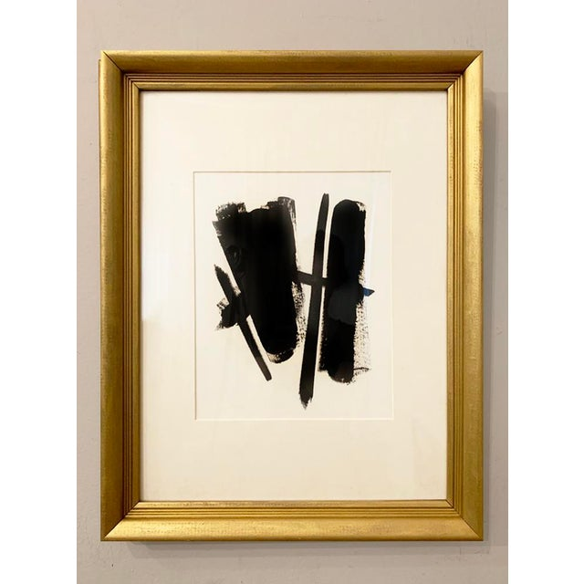 This original black acrylic painting is inspired by the mid-century masters. Framed in a vintage gold metal frame with a...