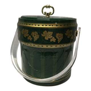 Mid-Century Vinyl Green and Gold Ice Bucket For Sale