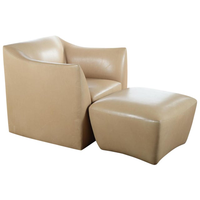 Club Leather Chair With Ottoman -Designer For Sale