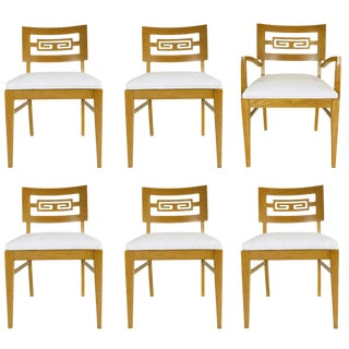 Set of Six Oak Midcentury Greek Key Dining Chairs For Sale
