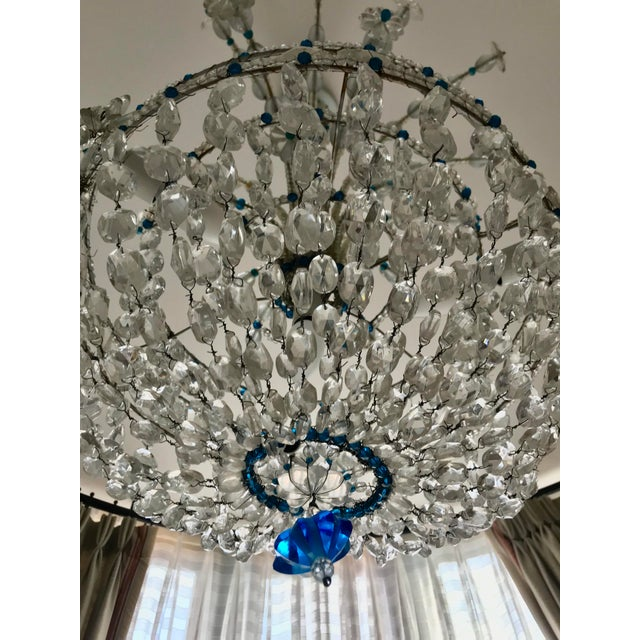Glass 1940s Mid Century French Crystal Chandelier For Sale - Image 7 of 13