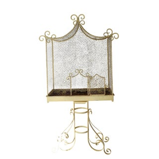 Victorian Large Creamy White Metal Bird Cage For Sale