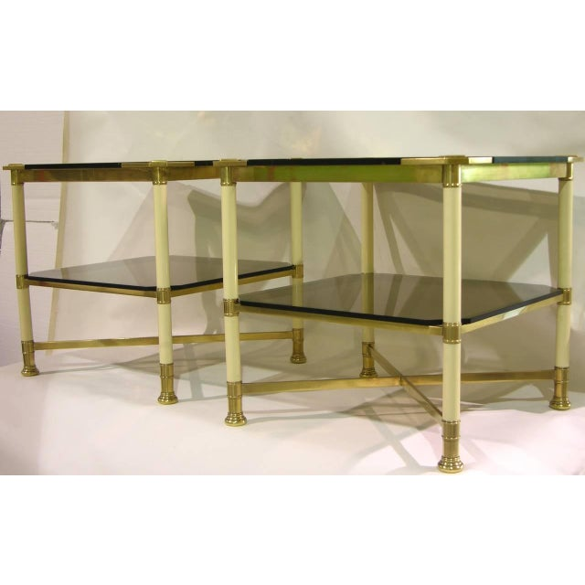 Vivai Del Sud 1970s Smoked Glass and Ivory Brass Side Tables - a Pair For Sale - Image 10 of 11