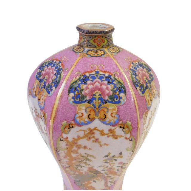 Pink Hexagonal Multi-Color Porcelain Vase - Image 4 of 6