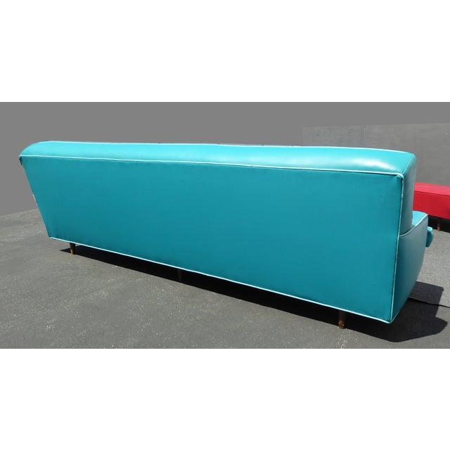 Mid-Century Turquoise Vinyl Sofa - Image 11 of 11