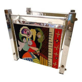 Picasso Styled Needlepoint Magazine Rack With a Chrome Frame, Mid-Century For Sale