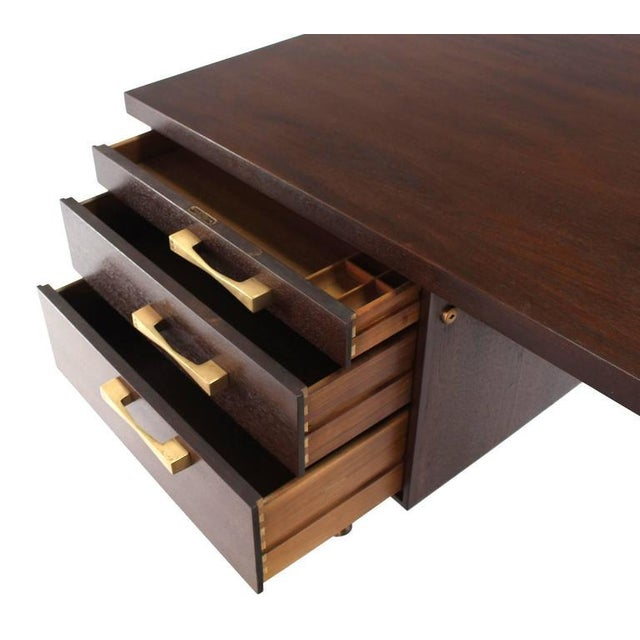 Wood Large Executive Three-Drawer Desk or Writing Table For Sale - Image 7 of 9