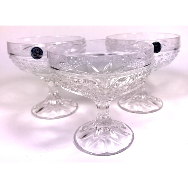 Art Deco Early 20th Century Handcrafted Jugoslavian Lead Crystal Coupe Glasses - Set of 3 For Sale - Image 3 of 5
