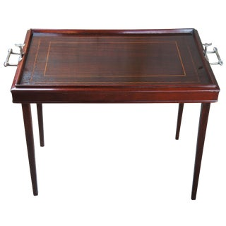 Tradiitonal Mahogany Inlaid Folding Butlers Side Tray Table For Sale
