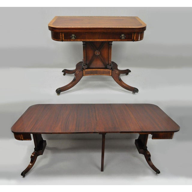 Antique Karges Banded Mahogany Regency Style Flip Top Game Table Extension Dining With 4