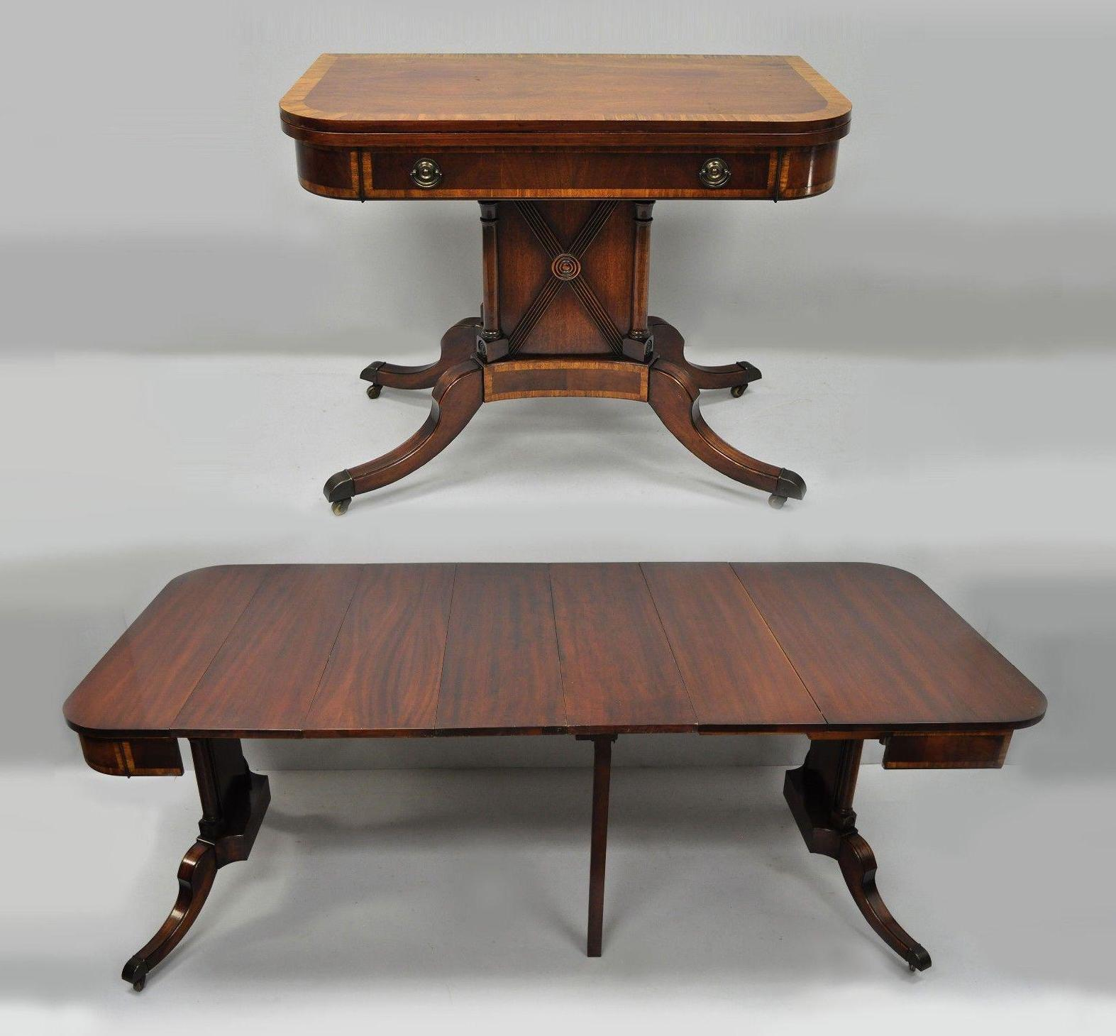 Antique Karges Banded Mahogany Regency Style Flip Top Game Table /  Extension Dining Table With 4