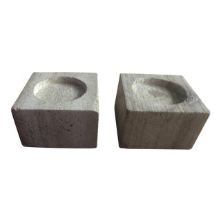 Contemporary Square Limestone Candle Holders - a Pair