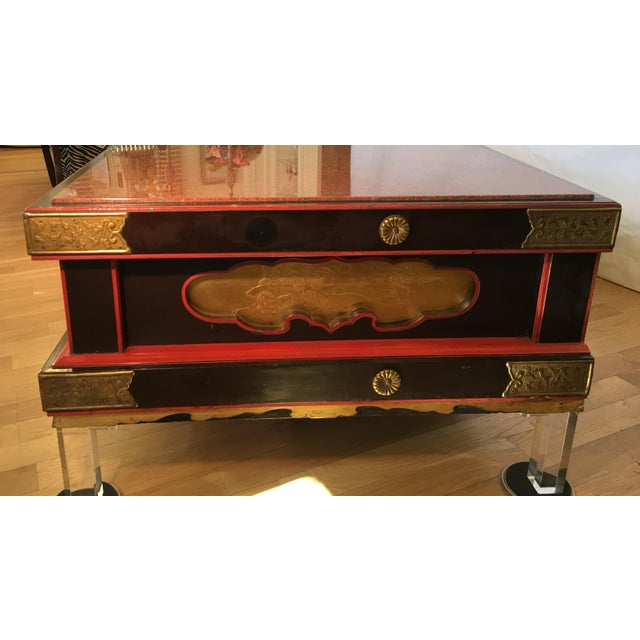 Antique Japanese Coffee Table w Rouge Marble & Modern Lucite Feet