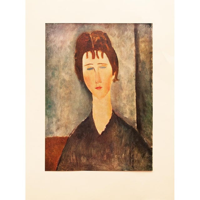 """1958 Modigliani, """"Young Girl With Brown Hair"""" First English Edition Lithograph For Sale - Image 11 of 11"""