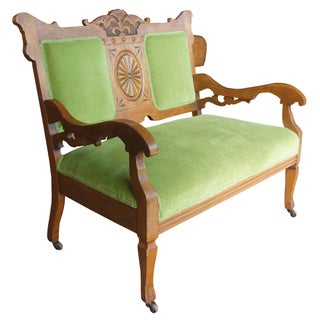 Late 19th Century Antique Victorian Carved Oak Settee Preview