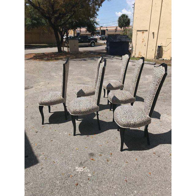 French Mid-Century Modern Ebonized Tall Back Dining Chairs - Set of 6 For Sale In Miami - Image 6 of 13
