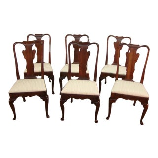 1970s Vintage Statton Old Towne Solid Cherry Dining Chairs- Set of 6 For Sale