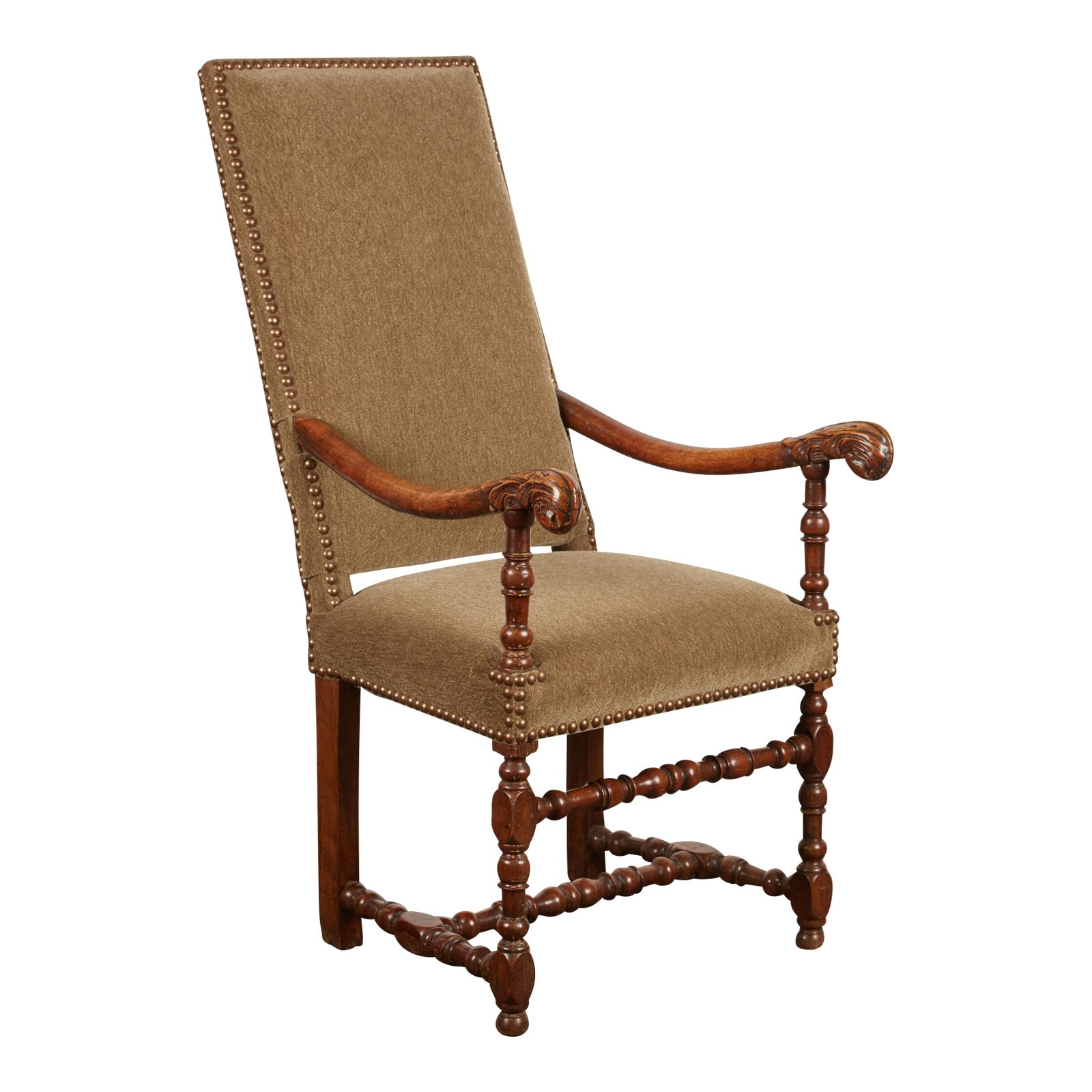 World Class 17th Century Louis Xiii French Walnut Armchair With