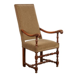 17th Century Louis XIII French Walnut Armchair with Upholstery For Sale