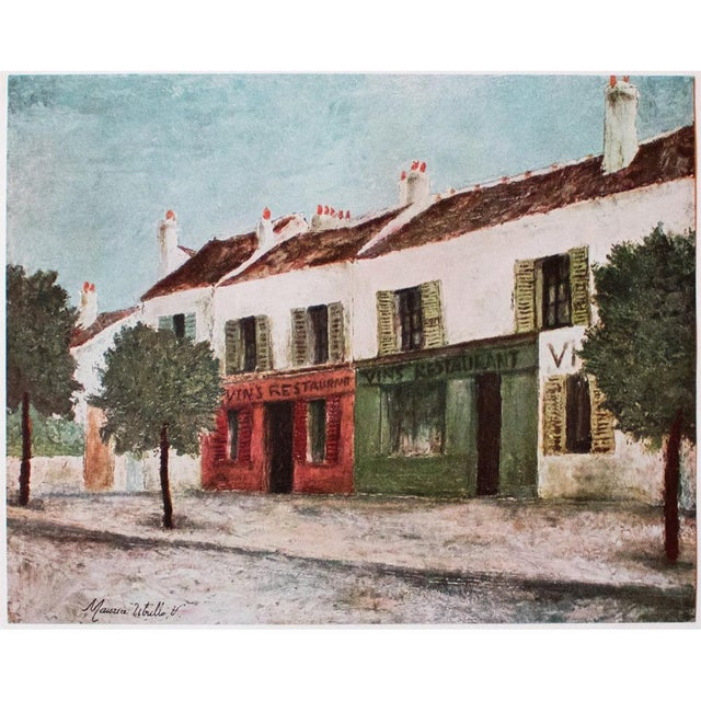 """A lovely vintage lithograph after painting """"Bistros in a Suburb"""" (circa 1910), by French artist Maurice Utrillo..."""