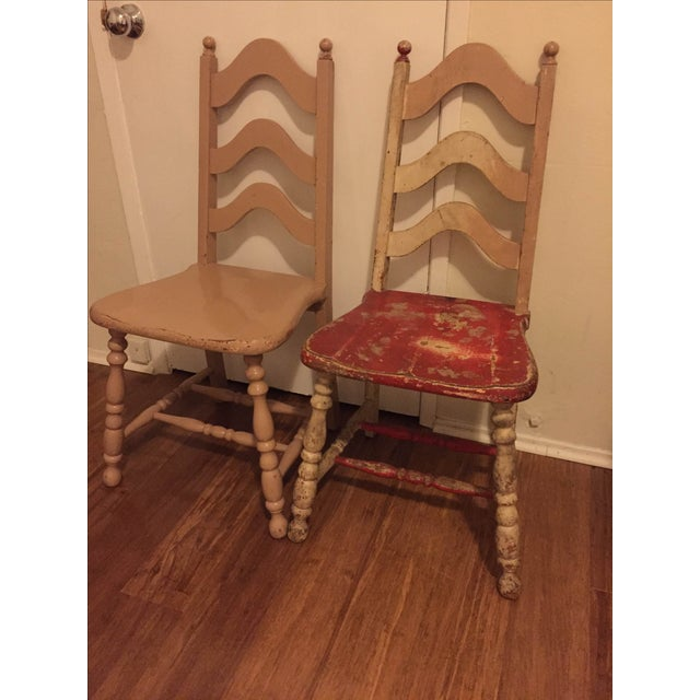 Vintage Shabby Chic Chairs - A Pair - Image 2 of 6