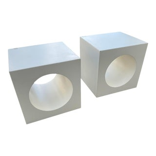 Mod Verner Panton Style Cube Side Tables - a Pair For Sale