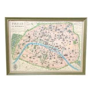 Framed Map of Paris For Sale