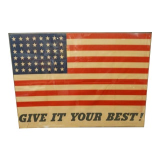 1940s Vintage Charles Coiner Give It Your Best Original WWII Flag Poster For Sale