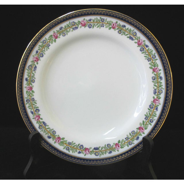 Lovely Spode Copeland China England salad plate set of 4 in white with finely detailed pink, green, and cobalt blue floral...
