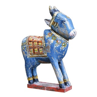 Blue Painted Cow Statue For Sale