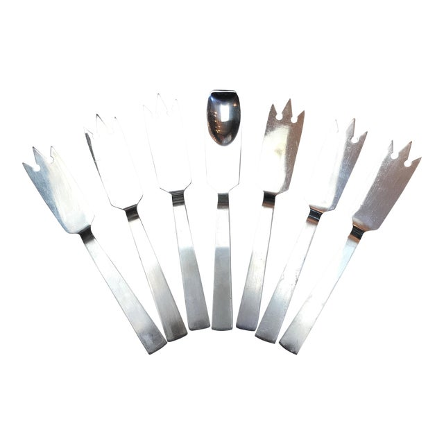 Italian Stainless Cocktail Fork and Spoon Set - Set of 7 For Sale