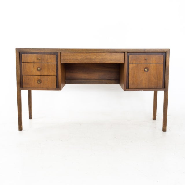 Lawrence Peabody Style Mid Century Walnut and Laminate Desk Desk measures: 54 wide x 18 deep x 30 inches high When you...