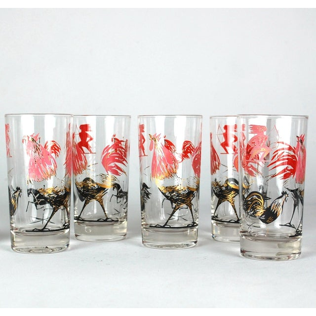 Mid-Century Rooster Highball Glasses - Set of 5 - Image 2 of 6