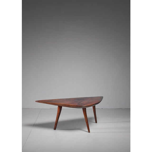 A rare studio crafted root wood coffee table by Emil Milan. He made only a few furniture pieces. This was Milan's personal...