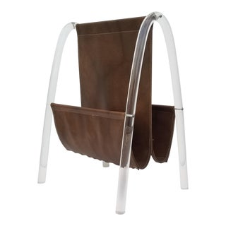 1980s Lucite and Faux Brown Leather Magazine Rack For Sale
