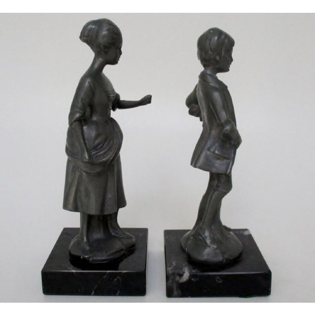 English Pewter Figurines - Set of 2 For Sale - Image 4 of 8