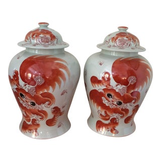 20th Century Chinese Foo Dog Urns - a Pair For Sale