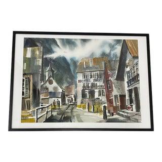 "Jack Laycox ""Alpine Church"" Original Watercolor C.1965 For Sale"