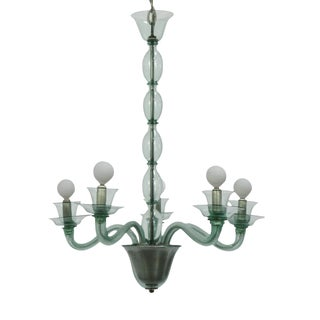 Mid-Century Modern Solid Aqua Murano Glass Chandelier For Sale