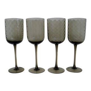 Italian Smoke Glass Stems, - Set of 4 For Sale