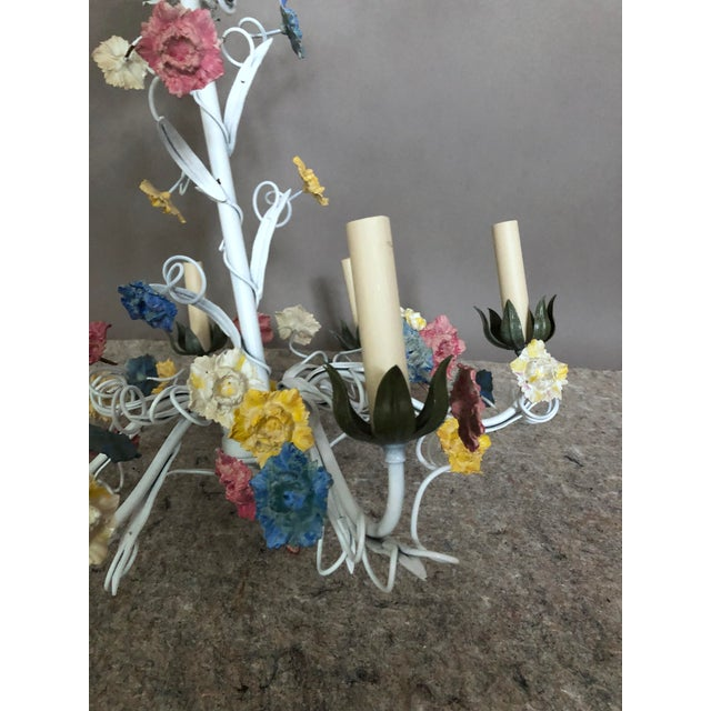 Shabby Chic 1970s Vintage Italian Tole Floral Chandelier For Sale - Image 3 of 4