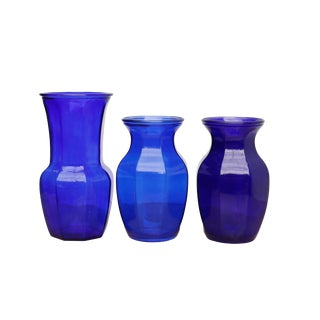 Octagonal Cobalt Blue Vases - Set of 3 For Sale