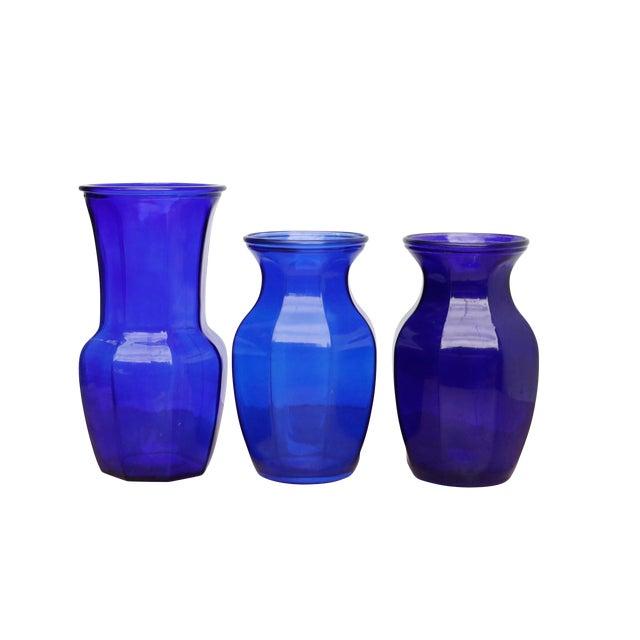 Octagonal Cobalt Blue Vases Set Of 3 Chairish