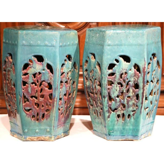 Early 20th Century Asian Green Porcelain Garden Stools - A Pair - Image 5 of 7