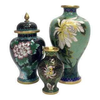 Cloisonné Vases & Ginger Jar For Sale