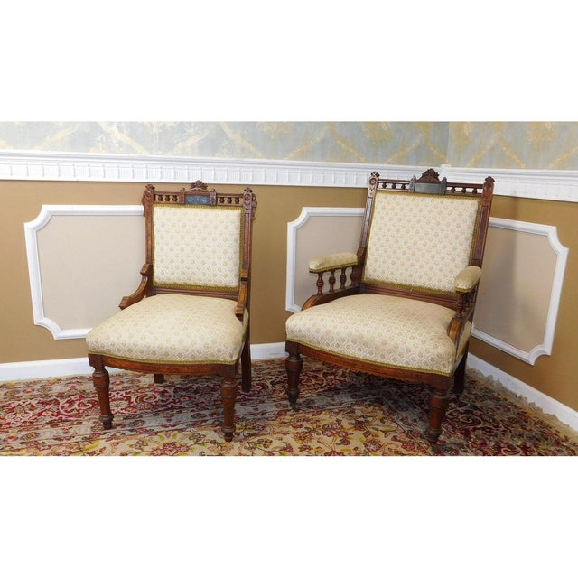His & Her Victorian Renaissance Chairs - Pair - Image 3 of 11