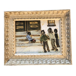 Vintage Original Painting Afro American Street Scene With Children For Sale